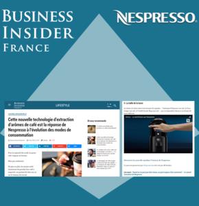 Nespresso accompagne le lancement de Business Insider autour de son innovation Vertuo